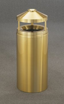 Glaro Atlantis Series Canopy Top Ash/Trash Receptacle in Satin Brass, 20 inch Dia x 42 inch H, 33 Gal, Shown in 12 Gallon Model with Many Other Sizes Available