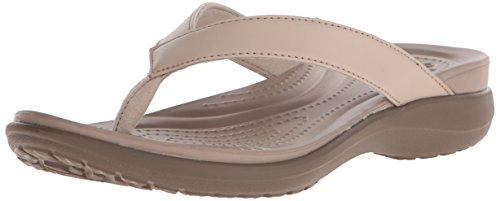 Crocs Women Capri (Crocs Women's Capri Flip-Flop, Chai/Walnut, 9 M US)