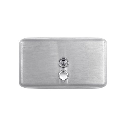 Horizontal Liquid Soap Dispenser - Dependable Direct Horizontal Wall Mounted Liquid Soap Dispenser (40oz Capacity) - 304 Grade Stainless Steel - Key Locked - for Use in Hospitals, Restaurants, Schools, Healthcare Facilities