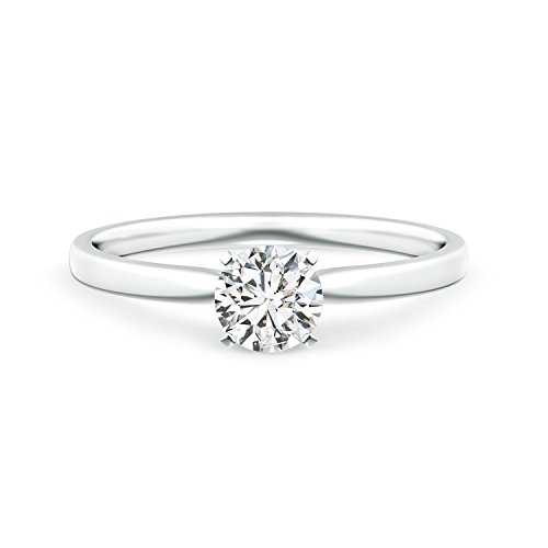 Classic Round Lab Grown Diamond Solitaire Ring in 14k White Gold - Ideal Cut Diamond Solitaire Ring