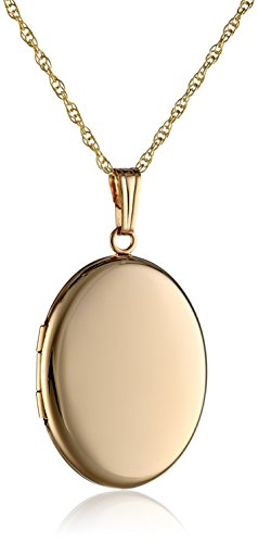 14k Yellow Gold Polished Oval Locket Necklace, 20'' by Amazon Collection