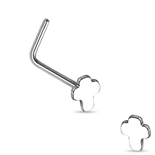 """Piercing nez Croix en acier chirurgical 316LTaille: 20GA (0.8mm)1/4""""(6mm) Couleur: Argenté"""