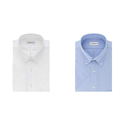 Van Heusen Men's Short Sleeve Oxford Dress Shirt, White/Blue, XX-Large ()