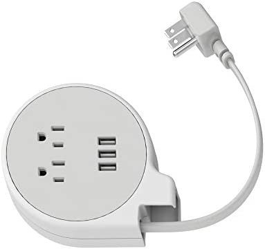 iHome Power Reach Tract Charging Station Small Compact Manually Retractable Travel Power Strip with 3 USB Ports, 2 AC Outlets and 4 ft Retractable Extension Cord, White