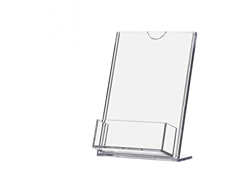 deflect-o Superior Image L-Frame Base Slanted Desktop Sign Holder, Plastic Premium Acryic Frame (1, 4