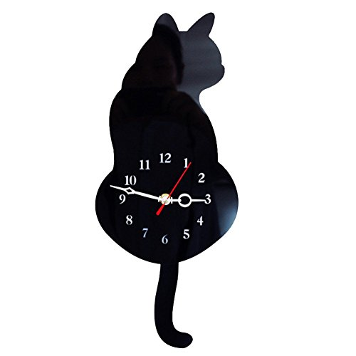 SEADEAR Cat Wall Clock Cat Swinging Tail Silent Wall Clock Acrylic Mute Creative Clock Wag Tail Wand Quartz Cat Wall Clock for Living Room Bedroom Kitchen Home Decor (Black Cat Clock With Moving Eyes And Tail)