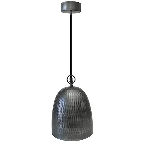 Hammered Silver Pendant Light in US - 6