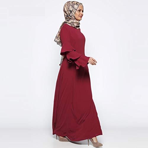 Panpany Vestito Islam Accessori Abbraccio Vino Musulmano Abaya islamico Rosso Maxi Allentato Colore Donna Islamic Abbigliamento Musulmana Kaftan Arab Dubai thQsrCdx