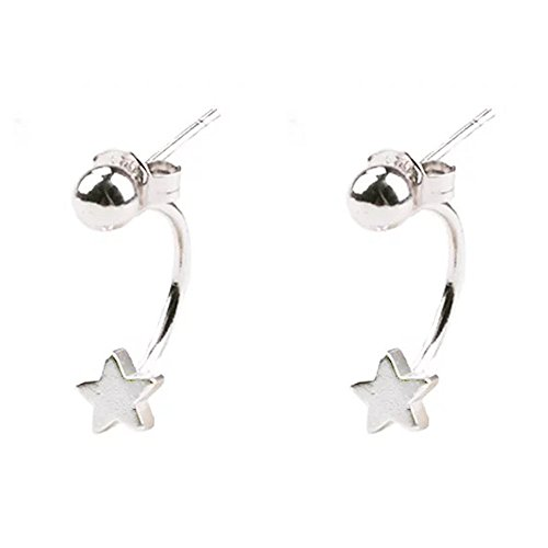 925 Sterling Silver Tiny Stars Ear Jacket Dangle Water Drop Simple Ear Stud Earrings Edgy Gift For Girls (drop earrings)