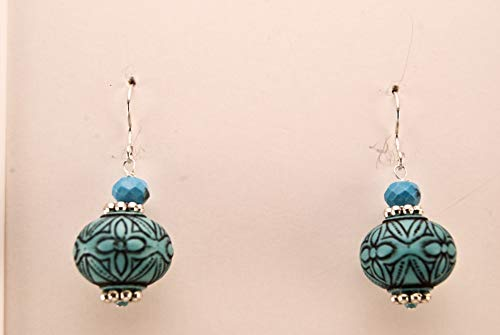 (Blue Etched Beads On Sterling Silver)