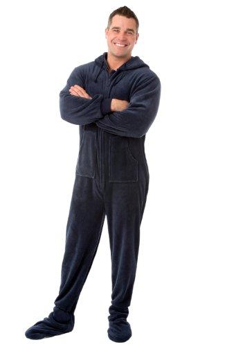 Big pies PJ Azul Marino de peluche con capucha con pijama