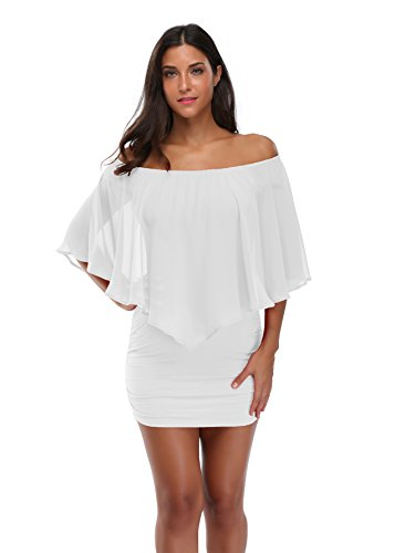 Floating Time Women's Off Shoulder Ruffles Bodycon Dress (L, White)