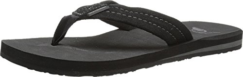 Mens Flip Flop Sandals (Quiksilver Men's Carver Suede 3 Point Sandal, Solid Black, 10 M)