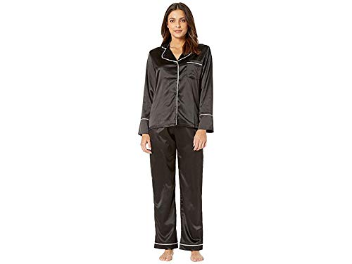 (Coobie Women's Undie Couture Satin Pajama Set Black Large)