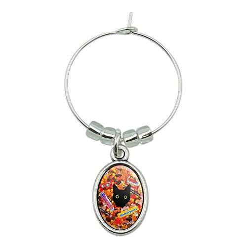Halloween Black Cat Hiding in Candy Wine Glass Oval Charm Drink Marker -