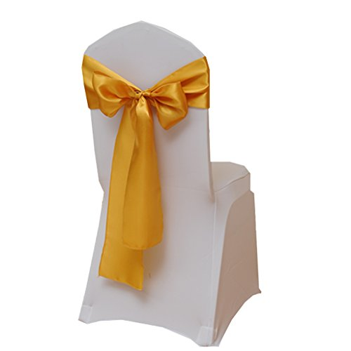 Fvstar Satin Chair Sashes Bows Chair Ribbon Sash Chairs Back Tie Sashes for Wedding Bridal and Events Supplies Party Decor,Pack of 25 (Tie X-long Bow Band)