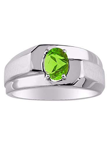 Classic Solitaire Green Peridot Ring Set in Sterling Silver .925