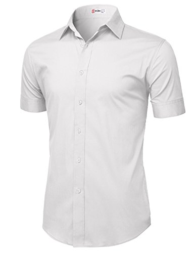H2H Mens Casual Button Down Short Sleeve Shirts Basic Designed WHITE US 3XL/Asia 4XL (Old Navy Gray Jeans)