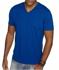 (Next Level Apparel 6440 Mens Premium Fitted Sueded V-Neck Tee - Royal, Small)
