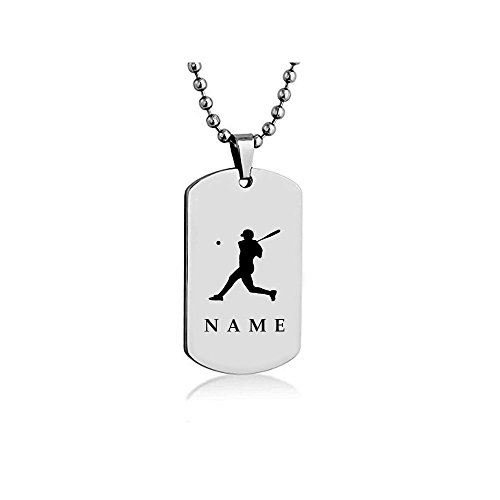 Get It - Personalized Baseball Dog tag Necklace Pendant 24 inch Stainless Steel Chain and Keyring Personalized Custom Engraved on Backside