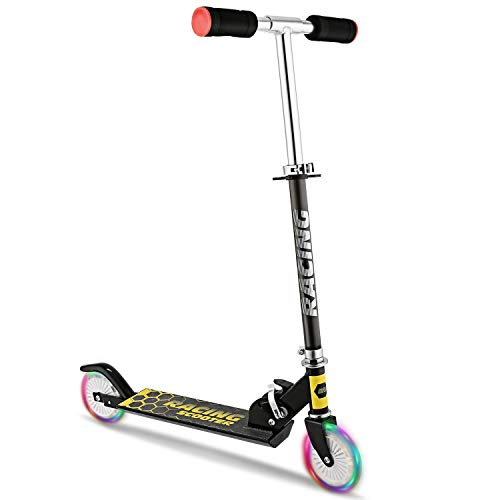 Kick Aluminum Scooter - Yiilove Aluminum Scooter Foldable Kick Scooter 2 Wheel Adjustable Height Mini Kick Scooter with LED Light Up Wheels for Boys and Girls Kids Toddler (Black)
