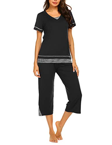 Ekouaer Pajama Sets Capri Pants with Short Tops Cotton Sleepwear Ladies Sleep Sets (Black,XL)