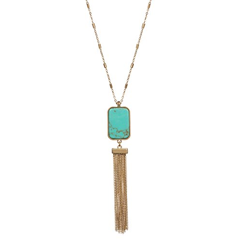 Fettero Natural Stone Square Turquoise Handmade Metal Tassel Necklace for Women Gold Plated Pendant Bohe Long Chain Statement Jewelry