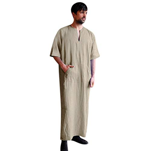 Willow S Hot Men's Vintage Baggy Cotton Linen Solid Color Short Sleeve Retro Long Loose T Shirts Tops Robe Khaki