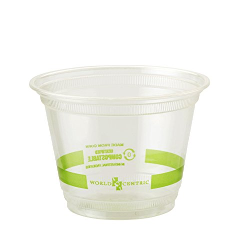 World Centric CP-CS-9Q 100% Compostable Ingeo Squat Cold Cups, 9 oz., Clear (Pack of 1000)