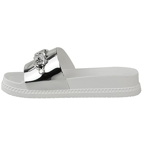 Chain Sandals Fashion Sliders Size Flat Womens Silver Platform Thirsty Diamante Flatforms Summer Metallic xYzOYqUATn