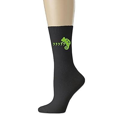 Rongyingst Green Cool Chameleon Unisex Soft Comfortabl Cotton Socks Funny Warm Crew Dress Socks Black