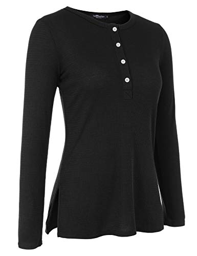 (Uniboutique Womens Long Sleeve Shirt Side Split Button Down Tunic Sweater for Leggings Black M)