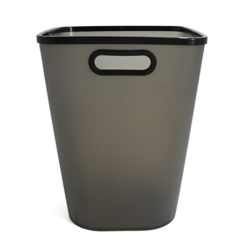 Paper Wastebasket Without Lid Fcoson Plastic Storage Garbage Can with Handle Large Frosted Trash Bin for Kitchen Bathroom Office Cabinet Black (Waste Plastic Paper)