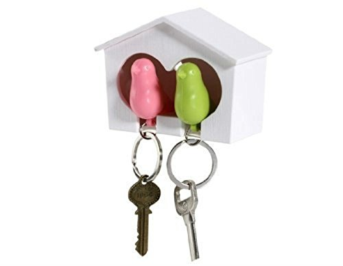 AKOAK Couple Pair Sparrow Bird House Nest Whistle Key Holder(One Bird Green and One Bird Pink)