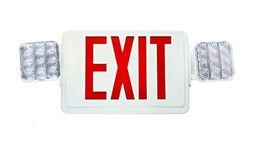 NICOR Lighting Remote Capable LED Emergency Exit Sign with Dual Adjustable LED Heads, White with Red Lettering (ECL1-10-UNV-WH-R2R) 10 Led Dual Head