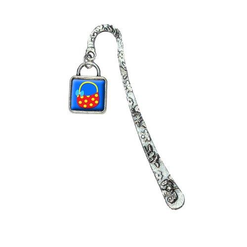 Purse Bag Handbag Shopping Polka Dot Book Bookmark with Square Antiqued Charm