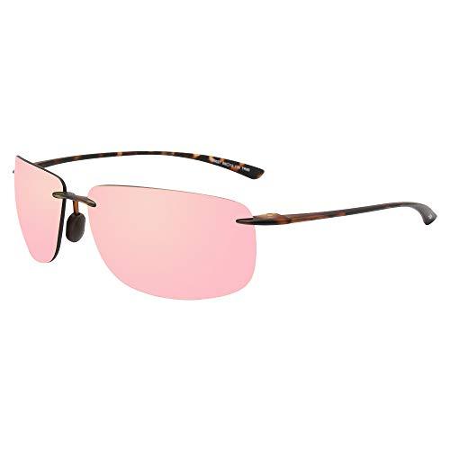 JOJEN Sports Sunglasses for men women Running Driving Fishing Tr90 Superlight Frame JE027 (Tortoise Shell Frame Pink Lens)