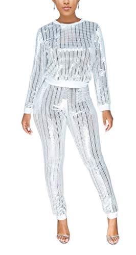 LKOUS 2 Piece Night Clubwear Outfits for Women Long Sleeve Top+Metallic Shiny Pants Glitter Clubwear White S
