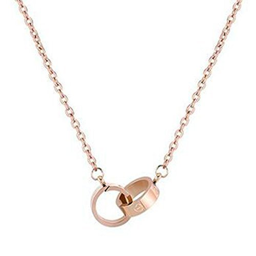 Fire Ants Love Necklaces - Women's Lucky Fashion Eternal Double Ring Necklace (Rose Gold-B)