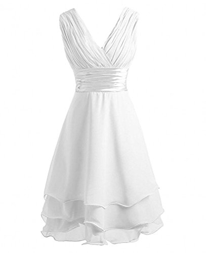 Homecoming Short Blue White Dress Sleeveless V Neck Dresses Royal Botong Bridesmaid BPCxq8Uqw