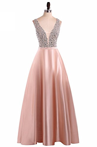 Sleeveless Satin V Neck A Line Long Prom Dresses Beading Floor Length Evening Dress Pink-US8 ()