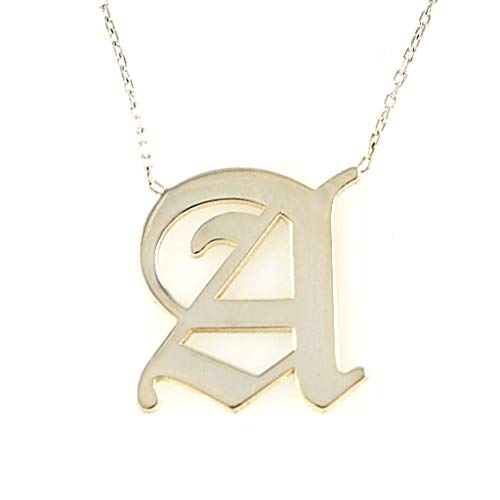Women's Men's 925 Sterling Silver Old English Font Initial A Letter Pendant Necklace 16+2 inches Chain