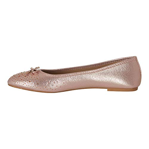 Chatties Women's Ballet Flats Size 7-8 Perforated with Ribbon Rhinestones Blush ()