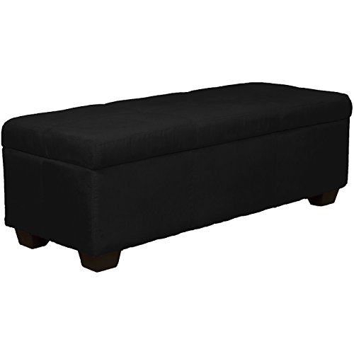 48'' x 19'' x 18'' high Tufted Padded Hinged Storage Ottoman Bench, Microfiber Suede Ebony Black by Epic Furnishings