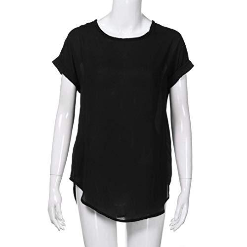 Unicolore Mousseline Blouse Et Rond Shirts Fit Mode Col Vtements Courtes Femme Vintage Mode Manches lgant Jeune Dcontract Haut Slim Schwarz Tops 0PqEwnxdOS