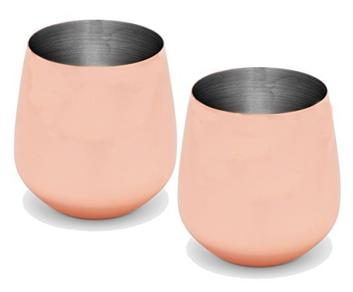 Silver One International Stainless Steel Copper Plated Finish Stemless Wine Goblets, 20 oz-Two Pack