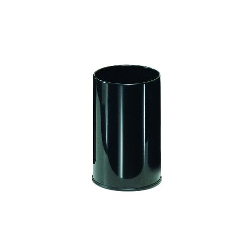 [Rubbermaid Commercial Products FGUB1900EBK Metallic Series Open Top Wastebasket (Round, 5-Gallon, 10-Inches x 15-Inches, Black)] (5 Gallon Steel Open Top)