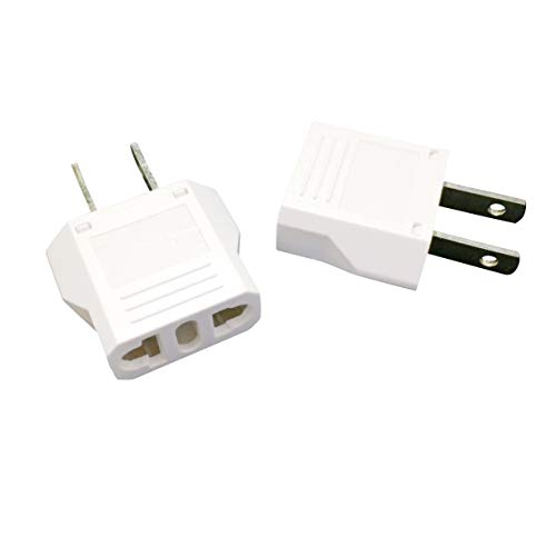 Unidapt US Usa Plug Adapter Power Converter AC Eu European to America (Pack of 2)
