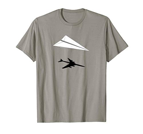 Paper Airplane Shadow 747 A340 A380 T-Shirt (Best Cities For Aerospace Engineers)