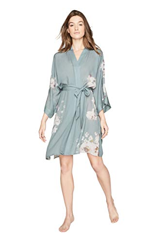KIM + ONO Women's Kimono Robe Short - Watercolor Botanicals, Sakura- Sage